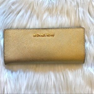 NWT Michael Kors Gold Glitter Slim Bifold Wallet